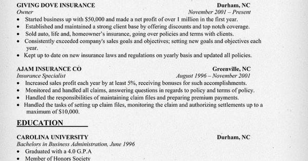 insurance agency owner resume sample