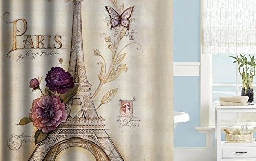 Uphome Vintage Paris Themed Light Brown Eiffel Tower Bathroom Shower Curtain Purple Flower