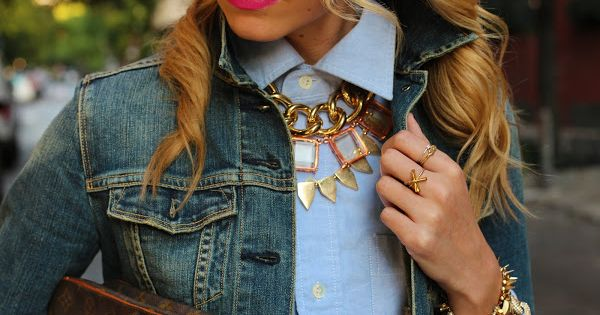 Fall: Denim jacket, buttoned-up button up, and layered necklaces.