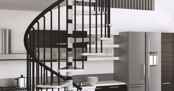 Best Misterstep Gamia Metal Spiral Staircase Kit Light Grey 400 x 300