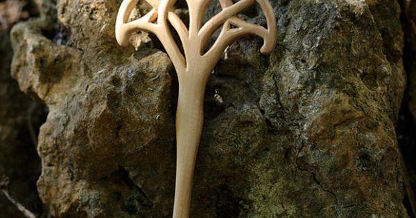 Art Nouveau Celtic Tree Of Life Hair Fork Handmade By