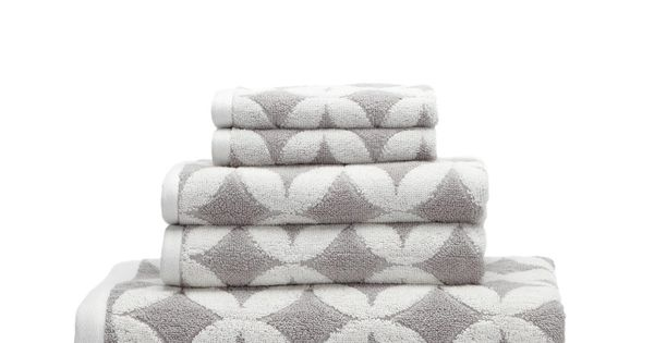 Grey White Patterned Towels Luxor Linens Via Gilt