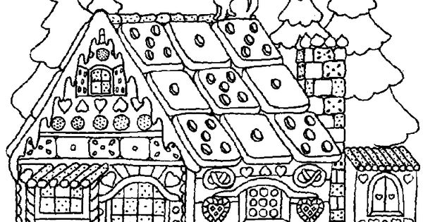 Christmas Gingerbread House Coloring Pages Medium Diffuculty