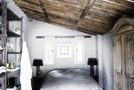 Rustic ceiling gray walls
