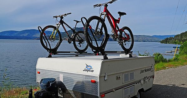 Yakima Roof Bike Rack System On Our Jayco 806 Pics Inside Pop Up Truck Campers Truck Camper Jayco Campers