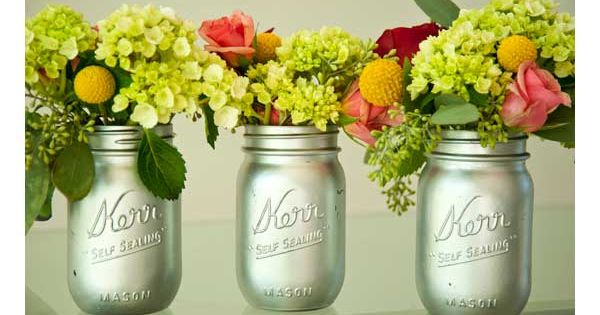 Eco-Wedding Idea: Mason Jars spray painted silver