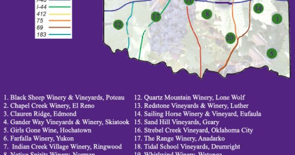 OGGWMA Oklahoma Wineries and Vineyards Map | Wine a little ...