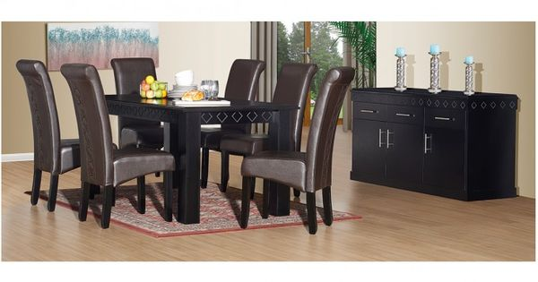 Marseilles 8pce Dining Room Black Wood Bradlows Black Dining Room Room Furniture