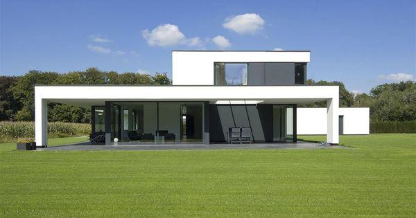 Maas architecten woonhuis lochem stucwerk modern villa strak minimalistisch glas maas - Buitenkant terras design ...