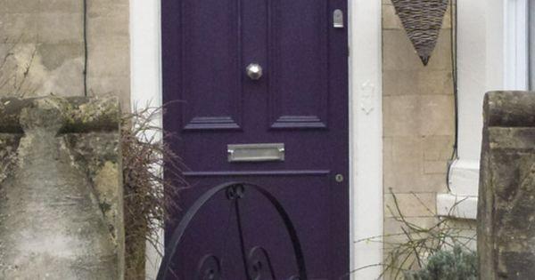 Purple door front porch makeover inspiration pinterest for Khaki green walls
