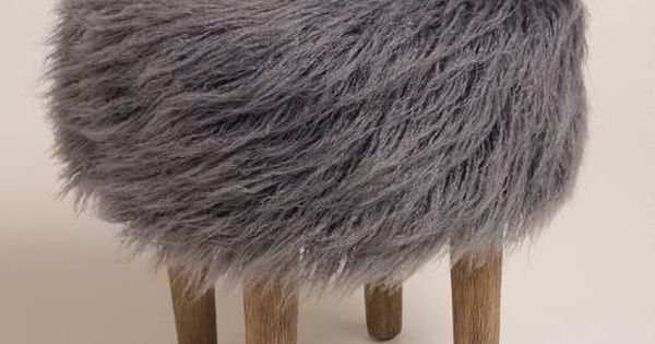 Charcoal Flokati Stool Shag Rugs Stools And Modern