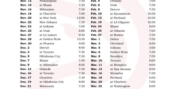 Printable Atlanta Hawks Schedule 2016 2017