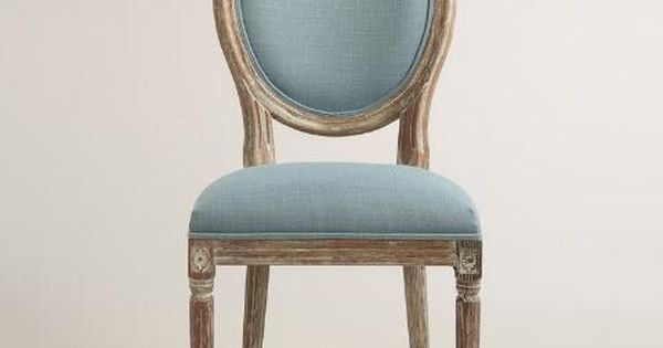 Blue linen paige round back dining chairs set of 2 upholstery chairs and plush - Plush dining room chairs ...