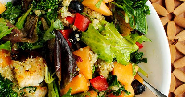 Fruit Grain Summer Salad. Fresh fruits berries combined with sauteed shrimp quinoa.