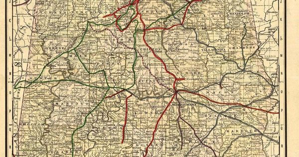 Old Alabama Railroad Map  Maps  Pinterest  Alabama