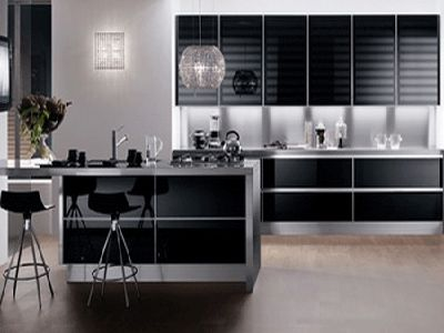 modern kitchen cabinets, black, white and brown color schemes