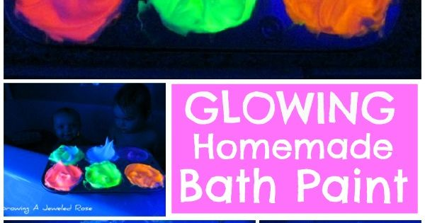 Glowing Homemade Bath Paint! So easy to make and so fun! -