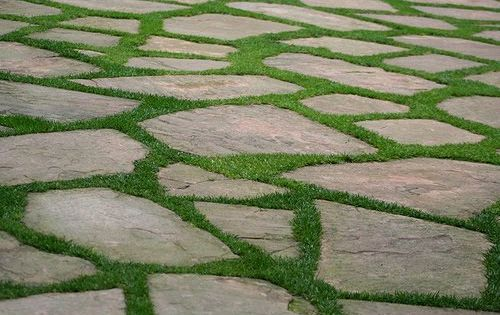 Flagstone and grass flagstone patio path pinterest for Stone path in grass