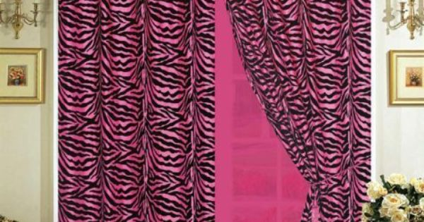 Silk hot pink with black zebra window curtain drape set with sheer