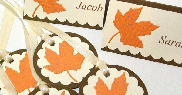 Fall wedding escort cards thanksgiving dinner place cards