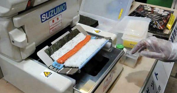 ... 300 Kwik-E-Mart rolls per hour (video) | Sushi, Sushi Rolls and Robots