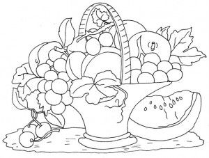 Fruit Basket Coloring Pages Fruit Basket Drawing Basket Drawing