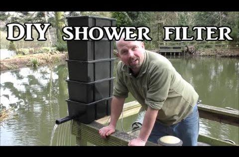 Diy shower trickle filter for a koi fish pond for Diy koi pond filter media