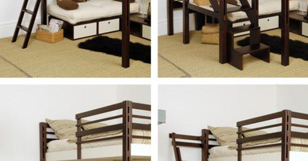espace loggia lit mezzanine acces echelle escalier brick. Black Bedroom Furniture Sets. Home Design Ideas
