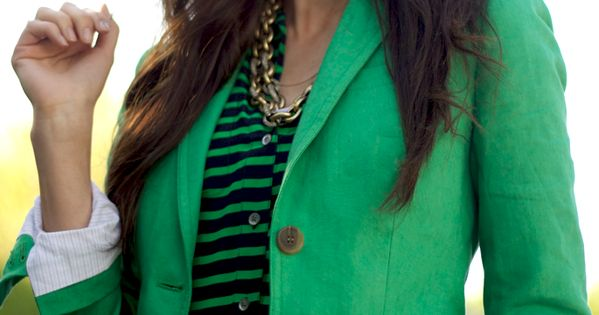 Cat eye sunglasses and a green blazer. So perfect.