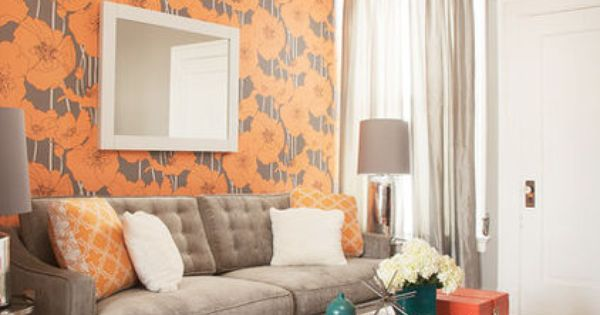 A bold wallpaper in a small living room draws attention for Small room 009 attention please