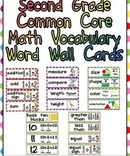 Second Grade Common Core Math Vocabulary Word Wall Cards Math Vocabulary Math Vocabulary Words Vocabulary Word Walls 5th grade math vocabulary worksheets pdf