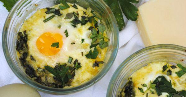 Eggs florentine, Baked eggs and Eggs on Pinterest