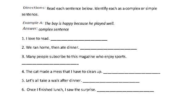 Complex Sentences Worksheets | Education, Writing Instruction ...