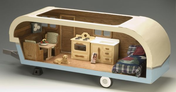 Vintage travel trailer dollhouse kit. I loved making doll houses as a