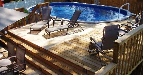Awesome above ground pool deck privacy fence with above for Above ground pool lighting ideas