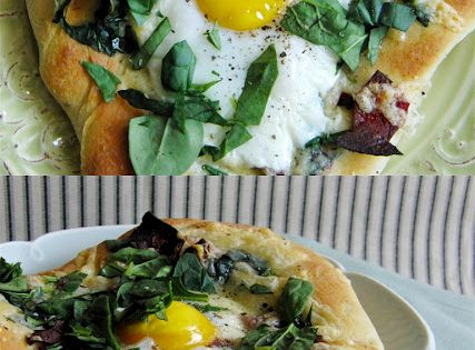 Breakfast Pizza with Turkey Bacon, Spinach, Fontina, Gruyere, and Egg
