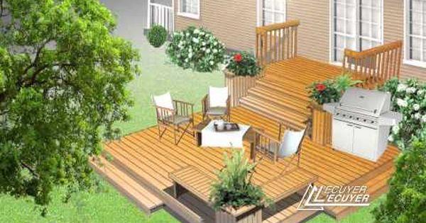 am nagements de terrasses de patio en bois trait pr t monter jardinage. Black Bedroom Furniture Sets. Home Design Ideas