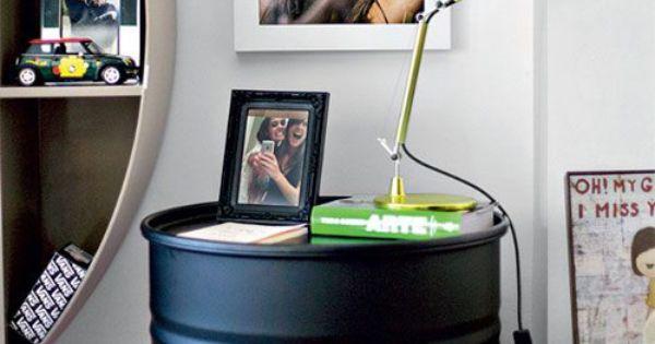 table de chevet bidon acier idee industriel pinterest industrial engineering tables and. Black Bedroom Furniture Sets. Home Design Ideas
