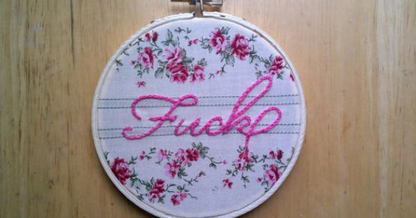 Fancily embroidered swear word words pink and floral