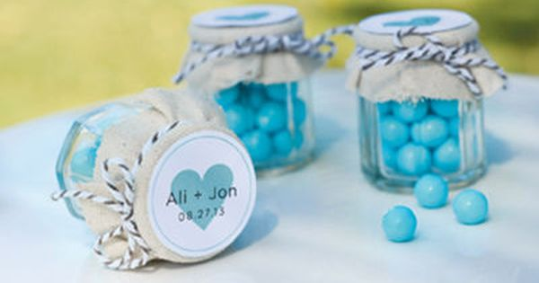 Fabric Covered Mini Mason Jars for m party favors