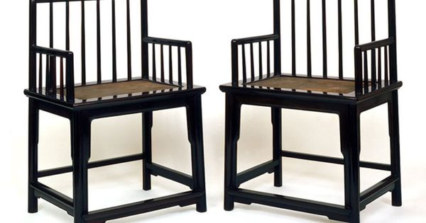A Pair Of Qing Dynasty Chairs In Zitan Wood Rose With Spindleback Design In Dec 2012 At