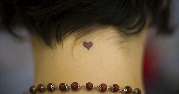 Small Tattoo Designs for Women | cute little heart neck tattoo Cute