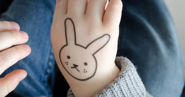 Freckles the shy little hare kids temporary tattoo for Little kid tattoos