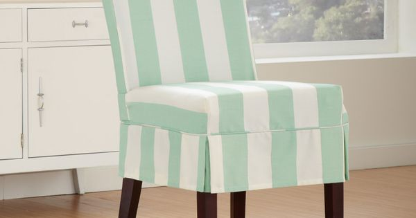 Tropical Light Blue And White Striped Patterned Chairs