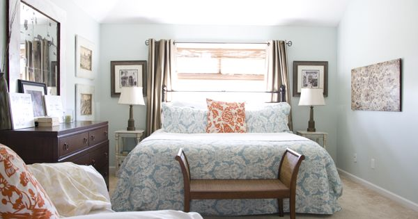 Orange and blue bedroom bed against window the curtains the knock off pottery barn iron Master bedroom bed against window