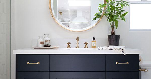 Modern Bathroom Tile Floors Dark Cabinets Amp Gold Fixtures