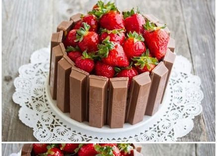 Yummy Recipes: Strawberry Kit Kat Cake recipe hehehe, rustic & brings back
