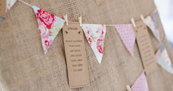 Love this 'bunting' idea for table plan c/o Caroline and Darren Gower