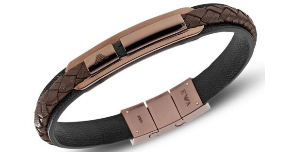 EMPORIO ARMANI - Pink Rose Gold Ion Plated Stainless Steel and Brown ...