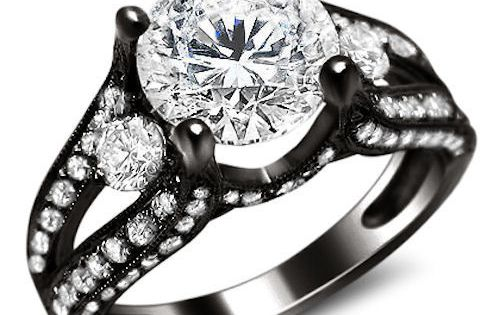 2 35ct Round Split Shank Diamond Engagement Ring 18K Black Gold |